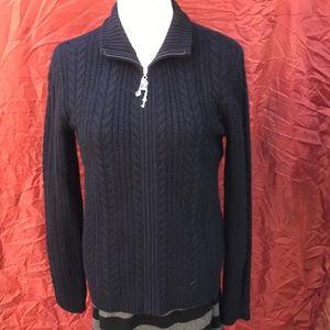ST. JOHN SPORT black cashmere cableknit sweater 6